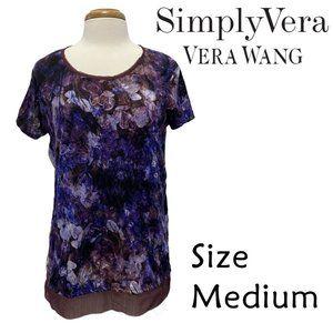 Simply Vera Wang Purple Watercolor Floral Size M